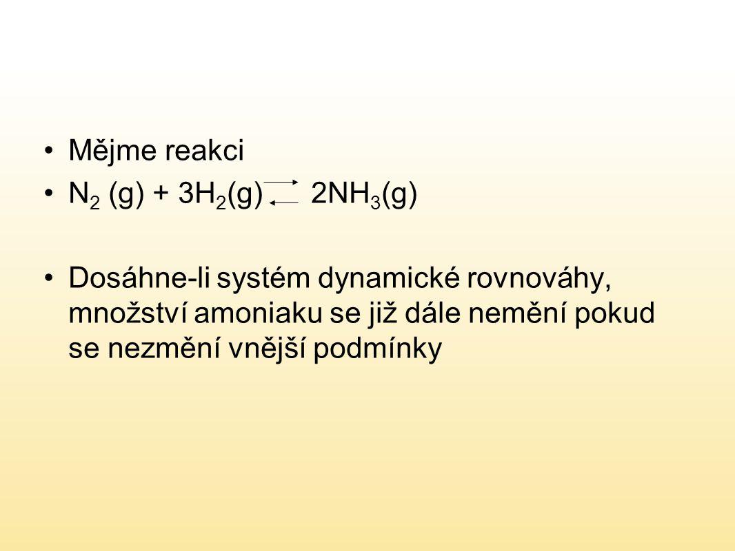 Mějme reakci N2 (g) + 3H2(g) 2NH3(g)