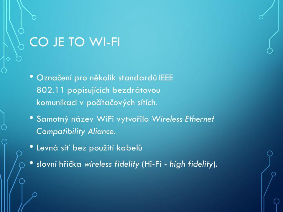 Co je to Wi-fi Označení pro několik standardů IEEE 802.11 popisujících bezdrátovou komunikaci v počítačových sítích.
