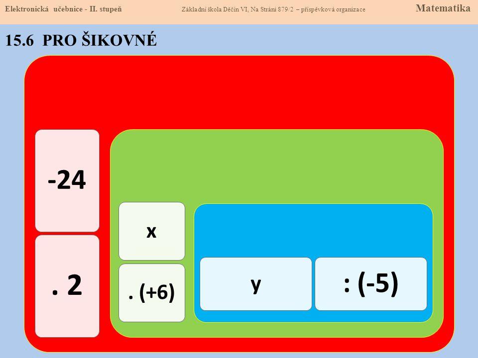 . 2 -24 : (-5) x y . (+6) 15.6 PRO ŠIKOVNÉ