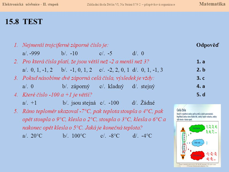 15.8 TEST Nejmenší trojciferné záporné číslo je: