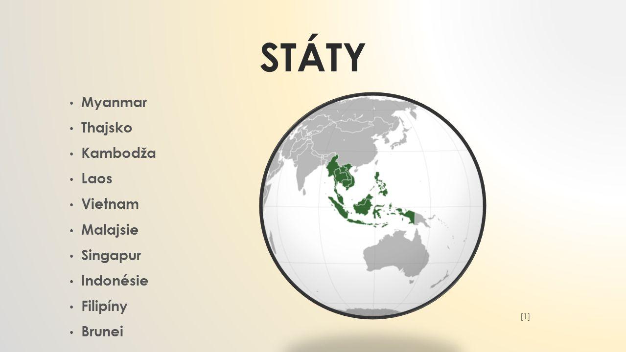 Státy Myanmar Thajsko Kambodža Laos Vietnam Malajsie Singapur