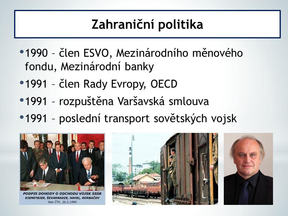 Zahraniční politika 1990 – člen ESVO, Mezinárodního měnového fondu, Mezinárodní banky. 1991 – člen Rady Evropy, OECD.