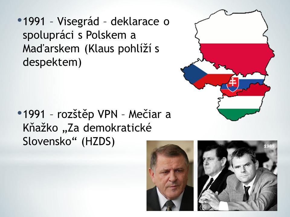 1991 – Visegrád – deklarace o spolupráci s Polskem a Maďarskem (Klaus pohlíží s despektem)