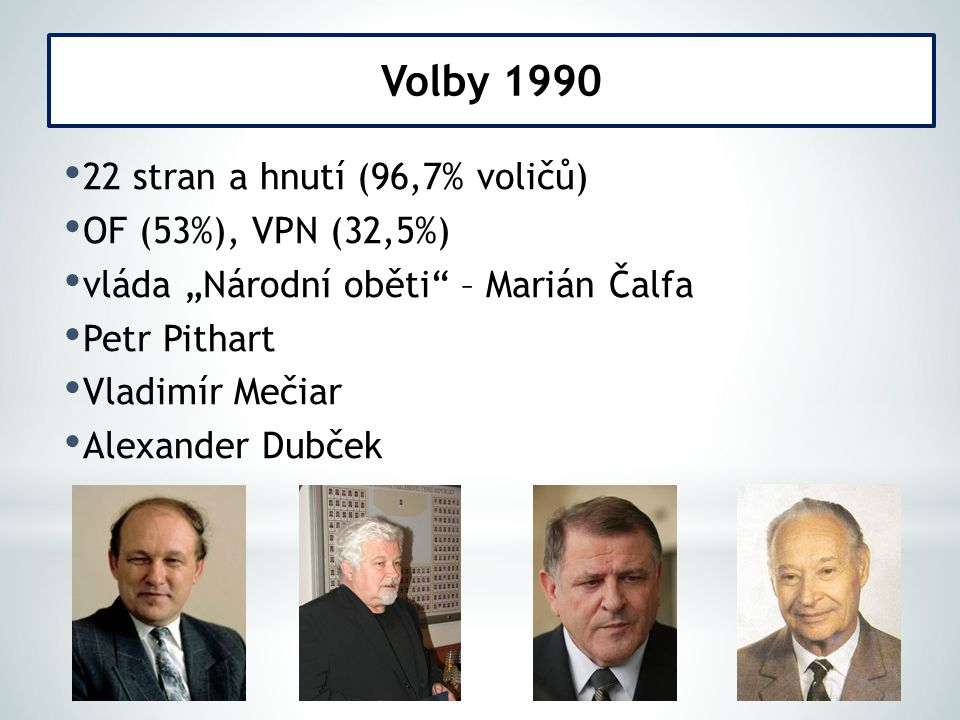 Volby 1990 22 stran a hnutí (96,7% voličů) OF (53%), VPN (32,5%)