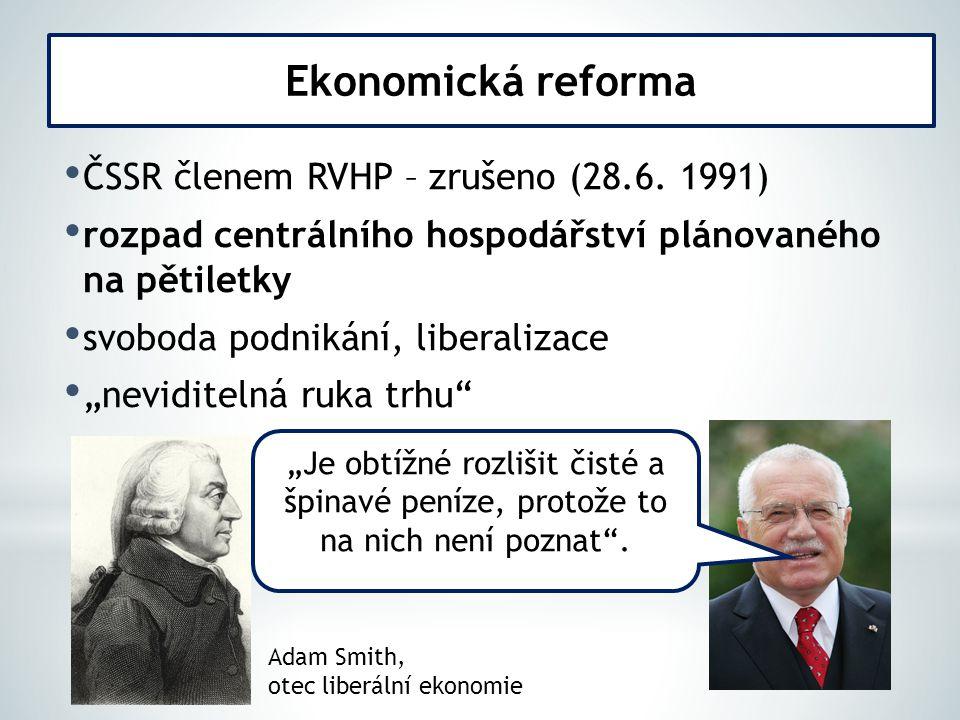 Ekonomická reforma ČSSR členem RVHP – zrušeno (28.6. 1991)