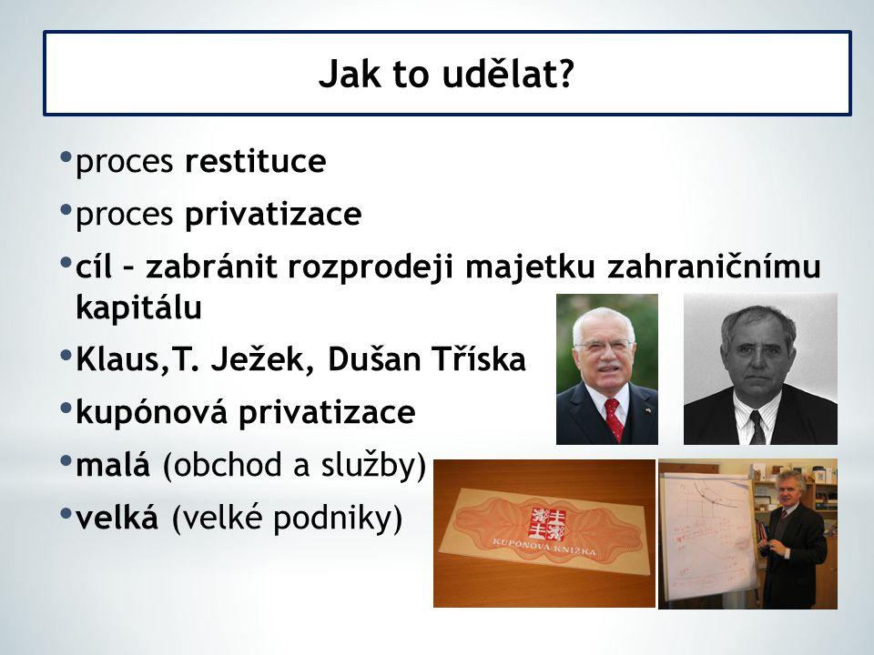 Jak to udělat proces restituce proces privatizace