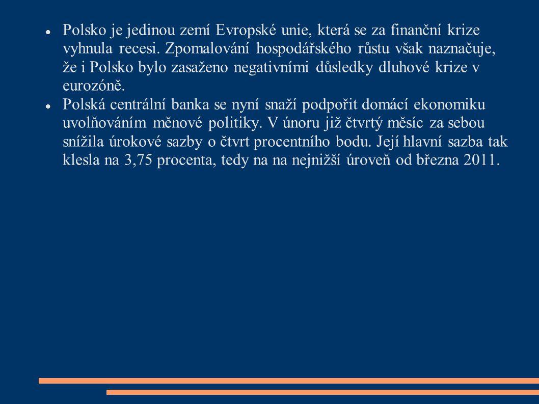 Polsko je jedinou zemí Evropské unie, která se za finanční krize vyhnula recesi. Zpomalování hospodářského růstu však naznačuje, že i Polsko bylo zasaženo negativními důsledky dluhové krize v eurozóně.