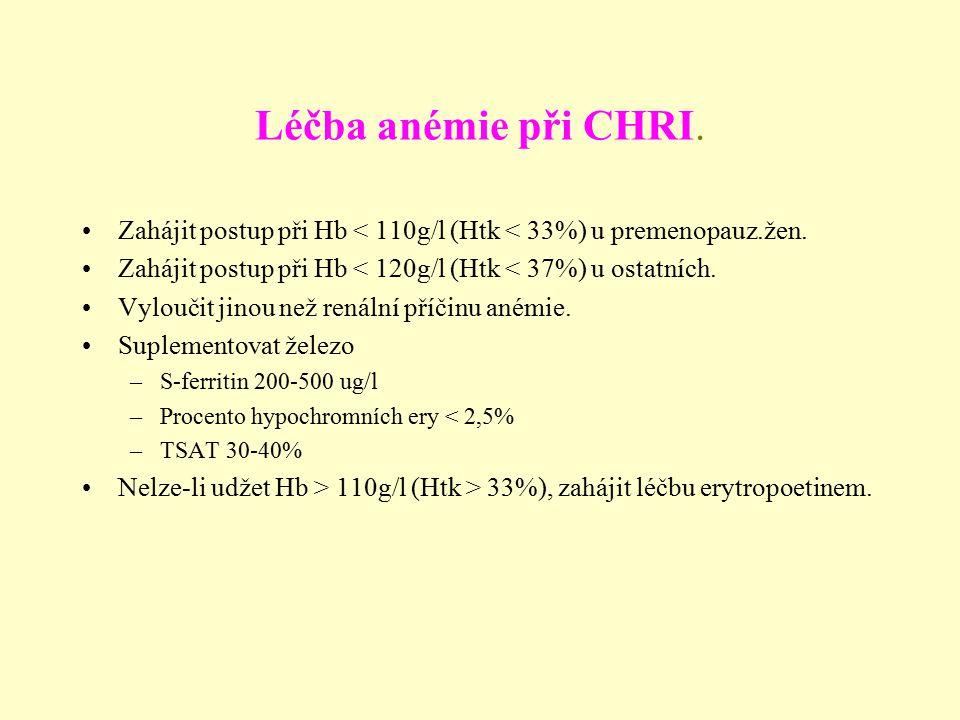 Léčba anémie při CHRI. Zahájit postup při Hb < 110g/l (Htk < 33%) u premenopauz.žen. Zahájit postup při Hb < 120g/l (Htk < 37%) u ostatních.