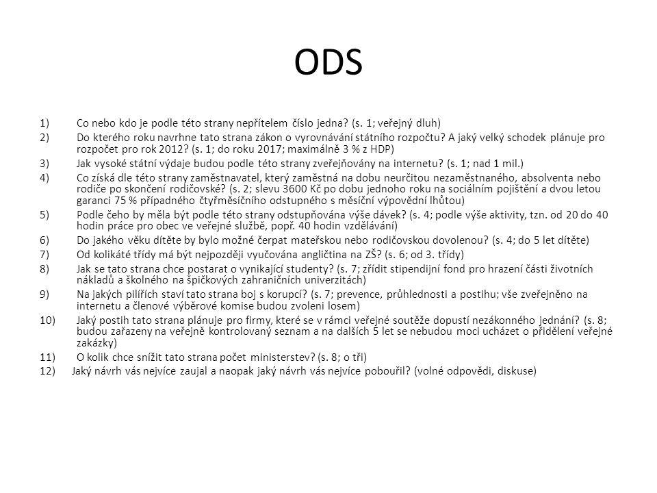 ODS Co nebo kdo je podle této strany nepřítelem číslo jedna (s. 1; veřejný dluh)