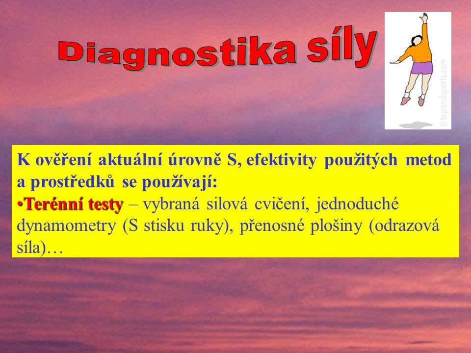 Diagnostika síly K ověření aktuální úrovně S, efektivity použitých metod a prostředků se používají: