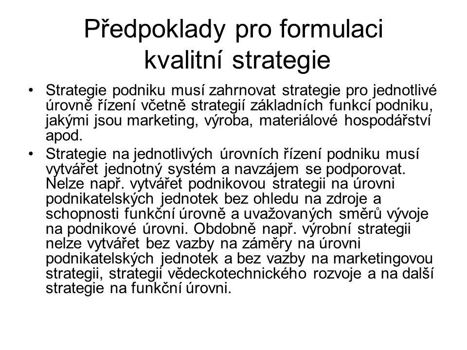Předpoklady pro formulaci kvalitní strategie