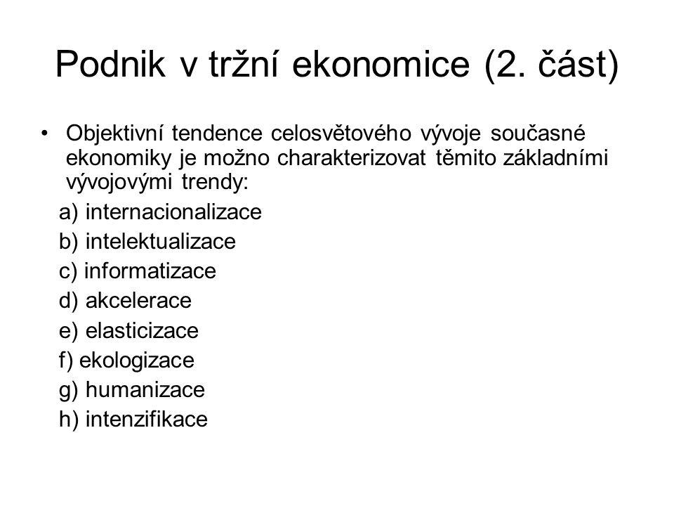 Podnik v tržní ekonomice (2. část)