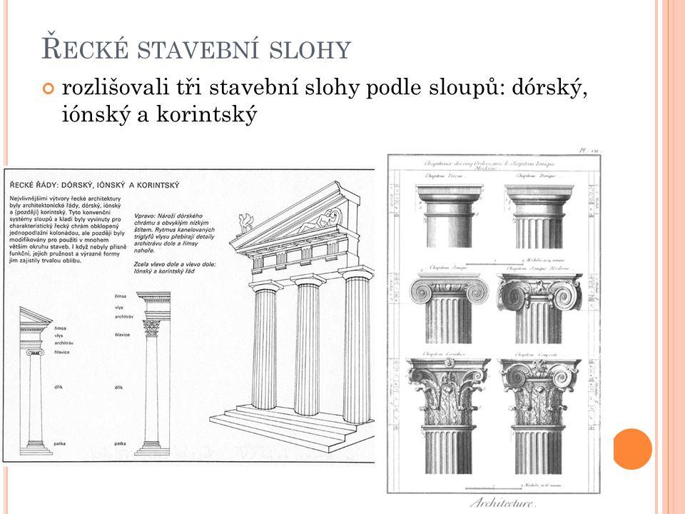 Řecké stavební slohy rozlišovali tři stavební slohy podle sloupů: dórský, iónský a korintský