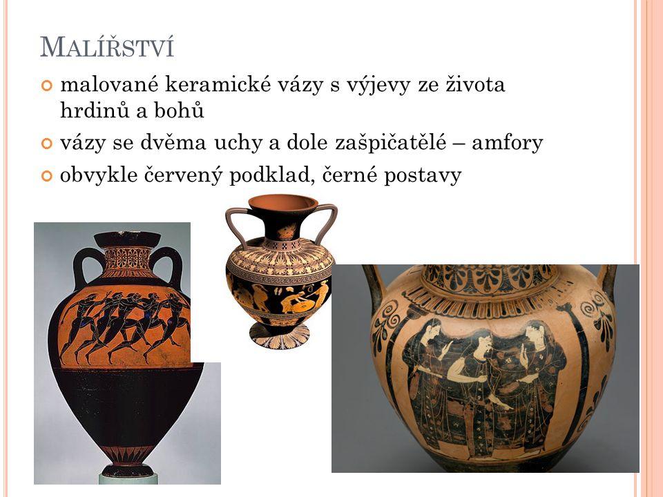 Malířství malované keramické vázy s výjevy ze života hrdinů a bohů