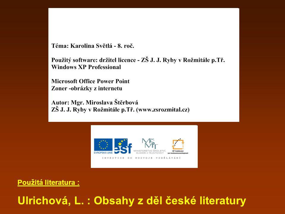 Ulrichová, L. : Obsahy z děl české literatury