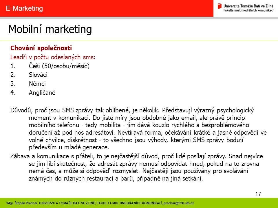 Mobilní marketing E-Marketing Chování společnosti