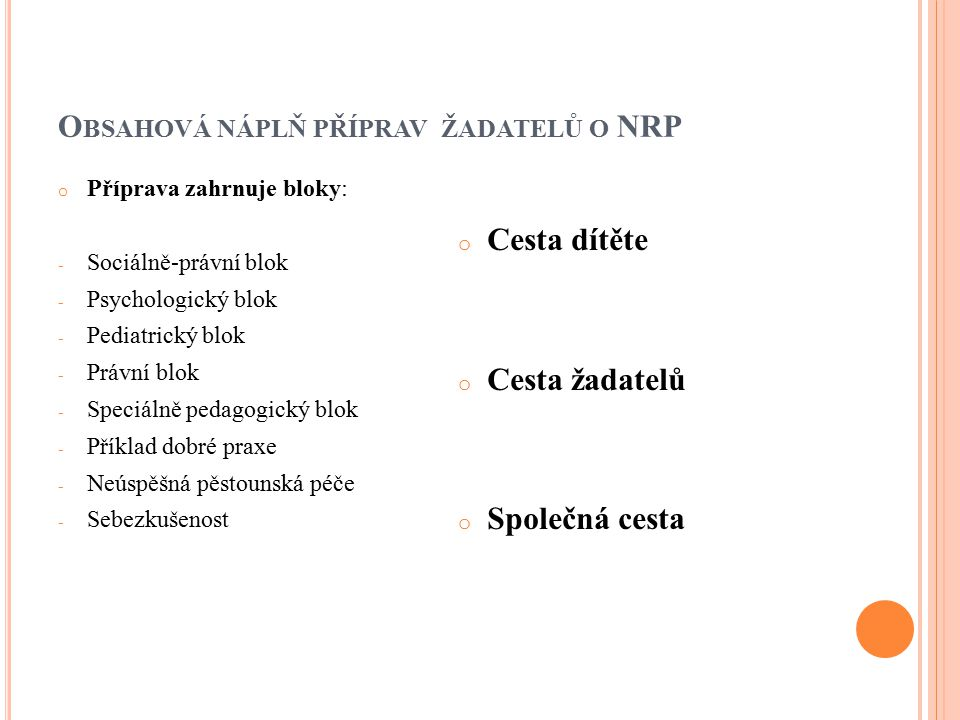 Obsahová náplň příprav žadatelů o NRP