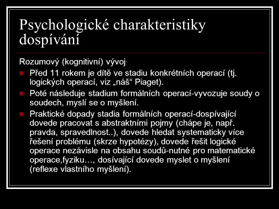 Psychologické charakteristiky dospívání