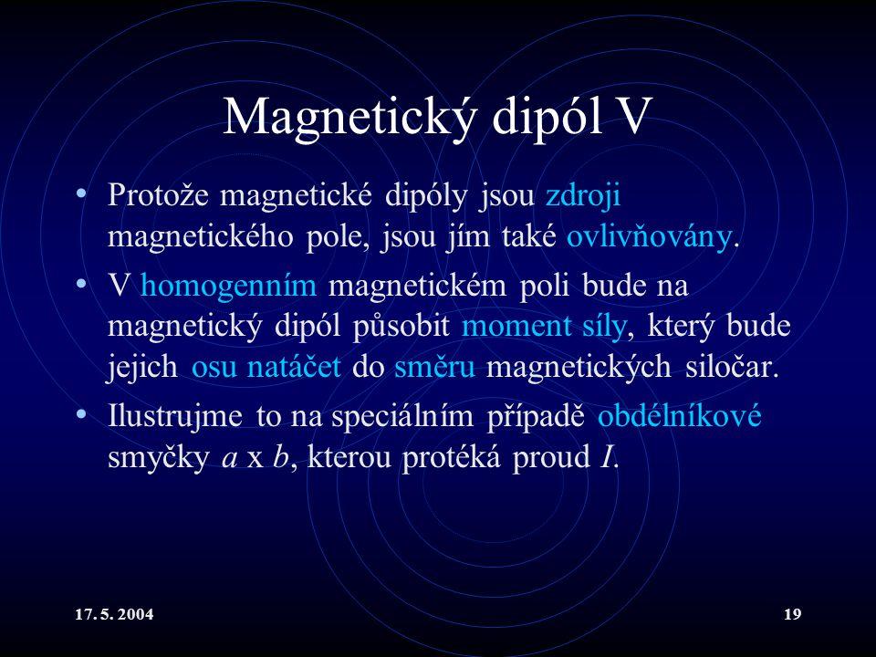 Magnetický dipól V Protože magnetické dipóly jsou zdroji magnetického pole, jsou jím také ovlivňovány.