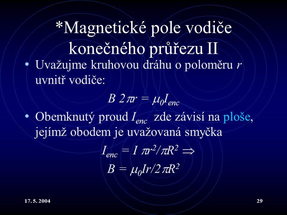 *Magnetické pole vodiče konečného průřezu II