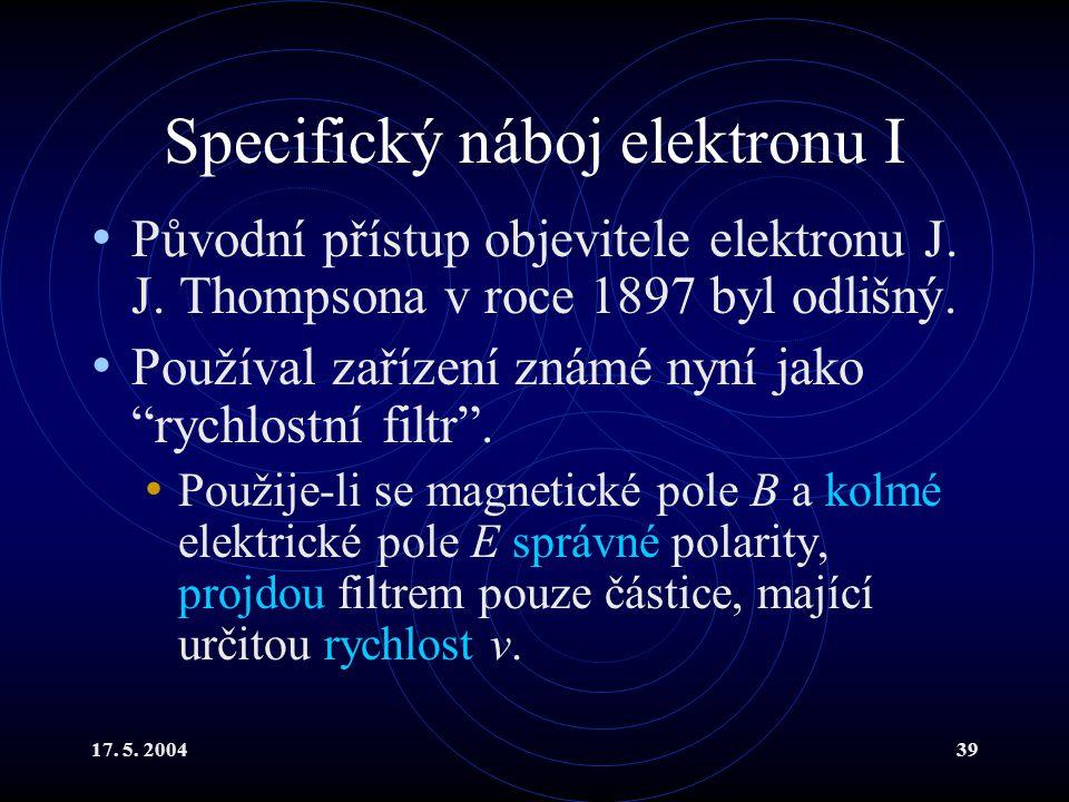 Specifický náboj elektronu I