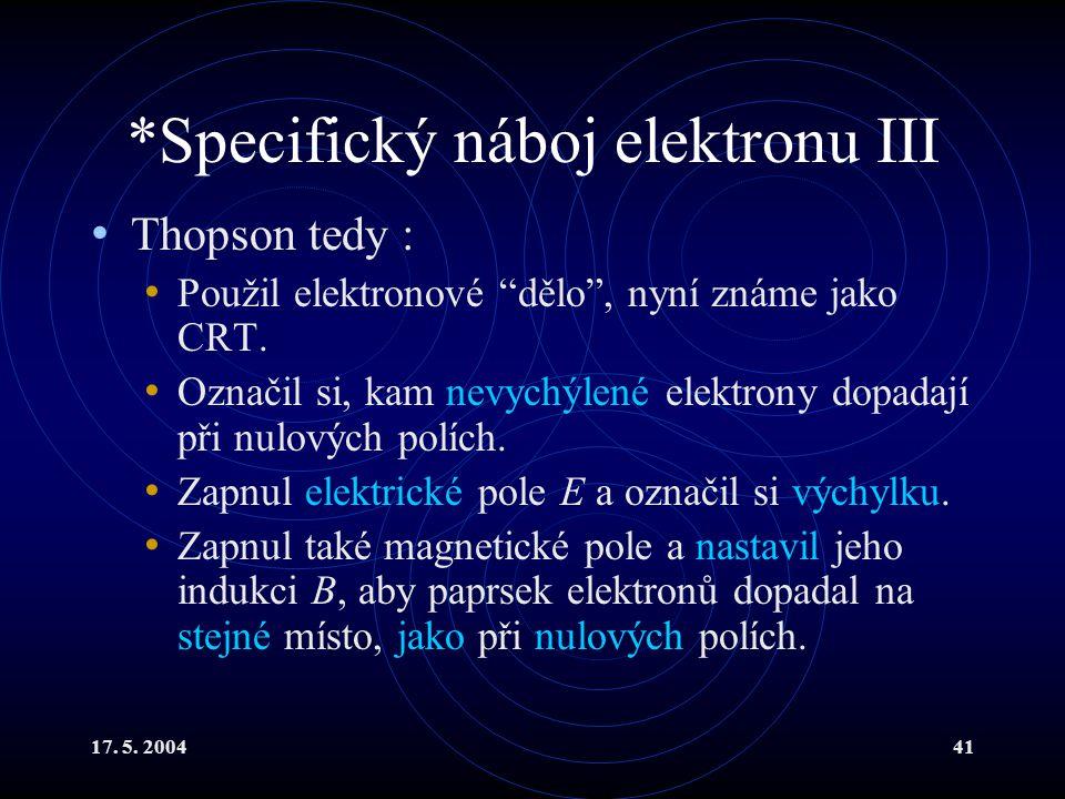 *Specifický náboj elektronu III