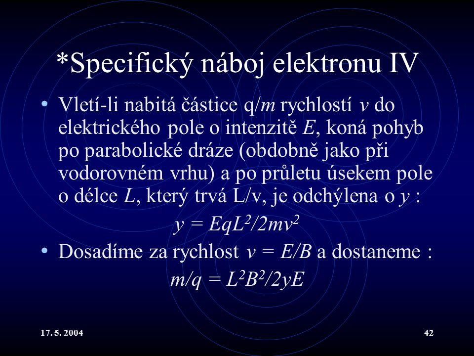 *Specifický náboj elektronu IV