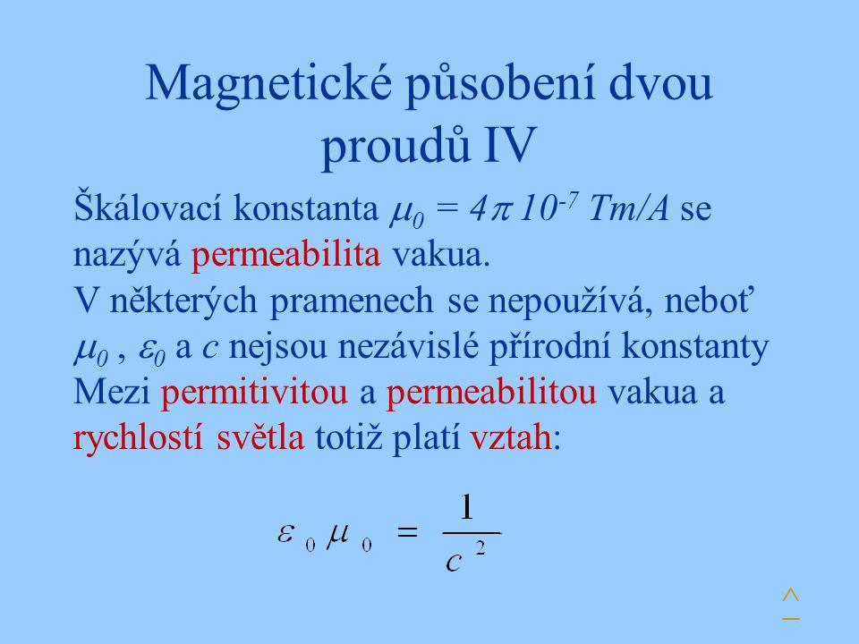 Magnetické působení dvou proudů IV