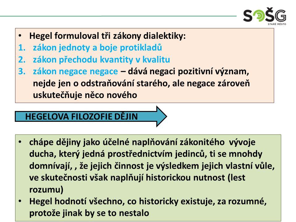 Hegel formuloval tři zákony dialektiky: