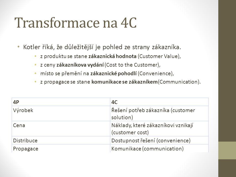 Transformace na 4C Kotler říká, že důležitější je pohled ze strany zákazníka. z produktu se stane zákaznická hodnota (Customer Value),