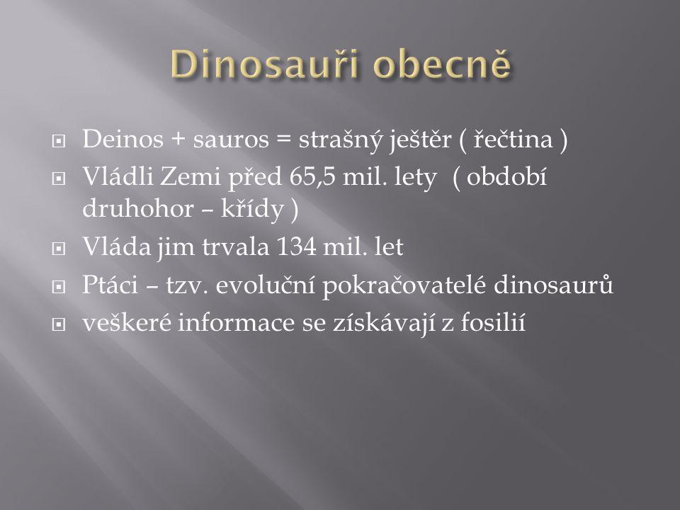 Dinosauři obecně Deinos + sauros = strašný ještěr ( řečtina )