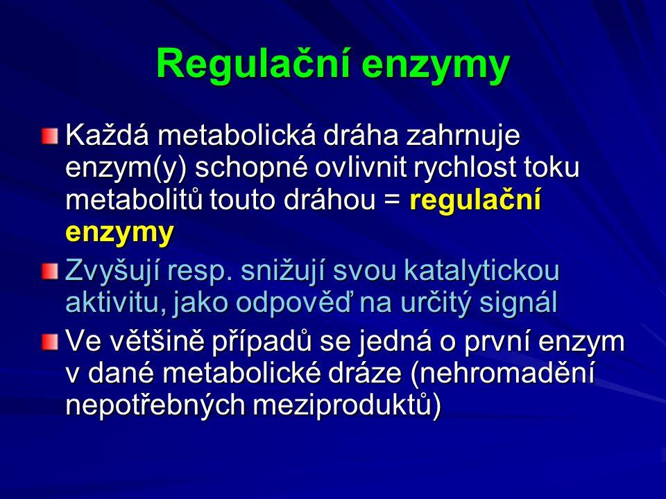 Regulační enzymy Každá metabolická dráha zahrnuje enzym(y) schopné ovlivnit rychlost toku metabolitů touto dráhou = regulační enzymy.