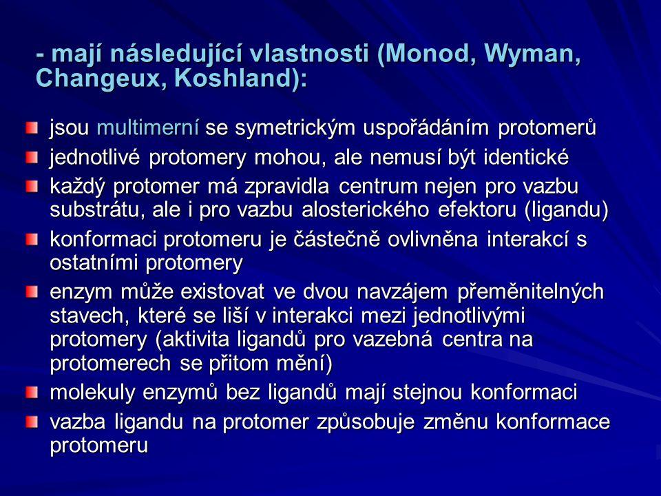 - mají následující vlastnosti (Monod, Wyman, Changeux, Koshland):