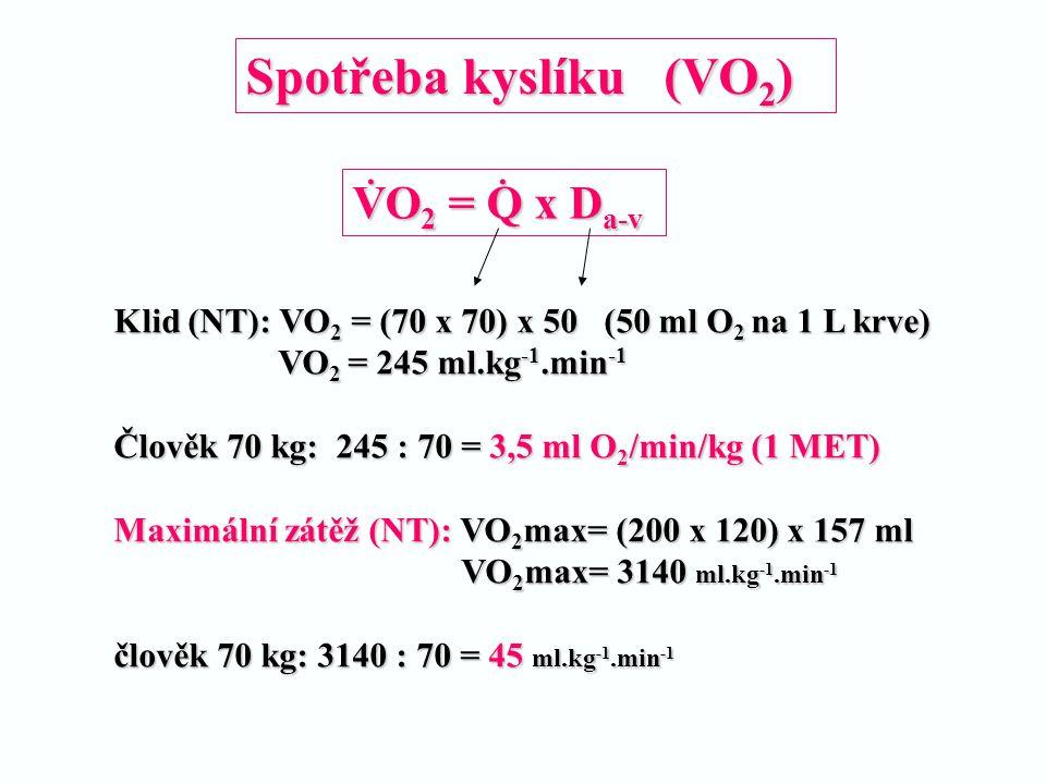 Spotřeba kyslíku (VO2) VO2 = Q x Da-v .