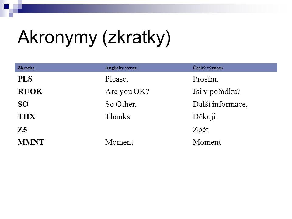 Akronymy (zkratky) PLS Please, Prosím, RUOK Are you OK Jsi v pořádku
