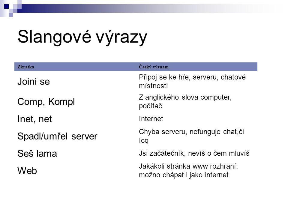 Slangové výrazy Joini se Comp, Kompl Inet, net Spadl/umřel server