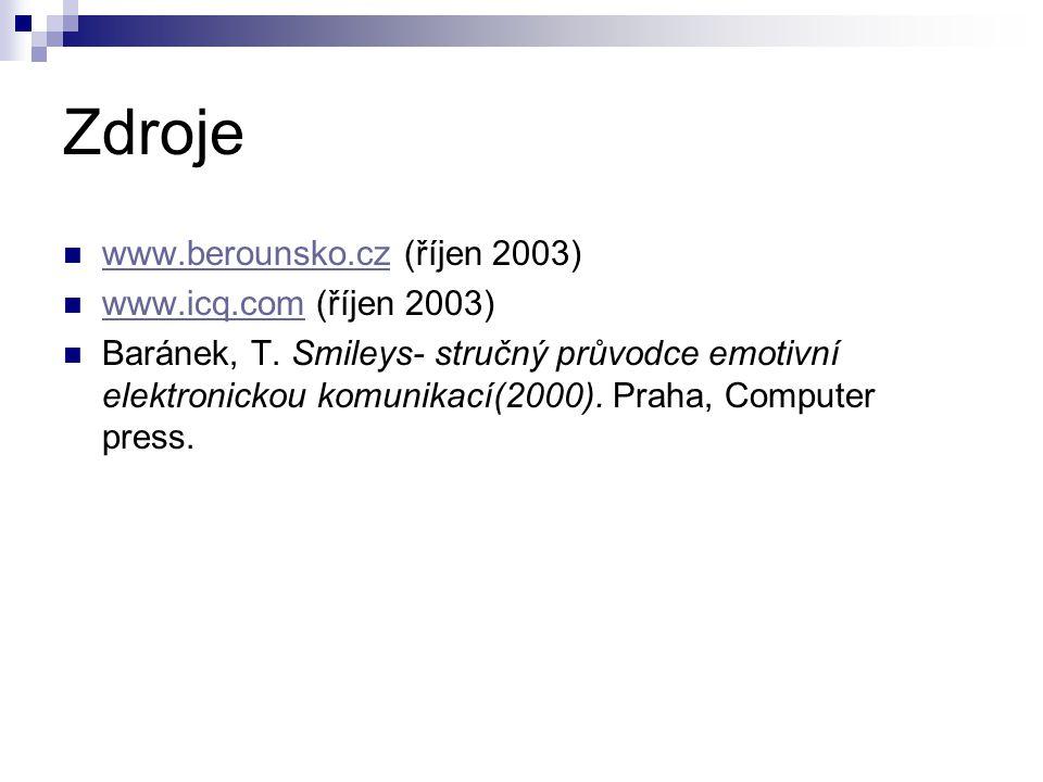 Zdroje www.berounsko.cz (říjen 2003) www.icq.com (říjen 2003)