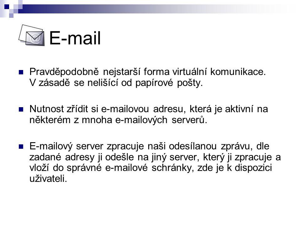 E-mail Pravděpodobně nejstarší forma virtuální komunikace. V zásadě se nelišící od papírové pošty.