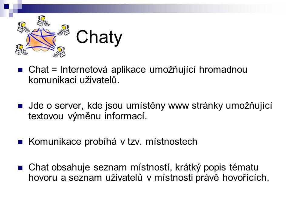 Chaty Chat = Internetová aplikace umožňující hromadnou komunikaci uživatelů.