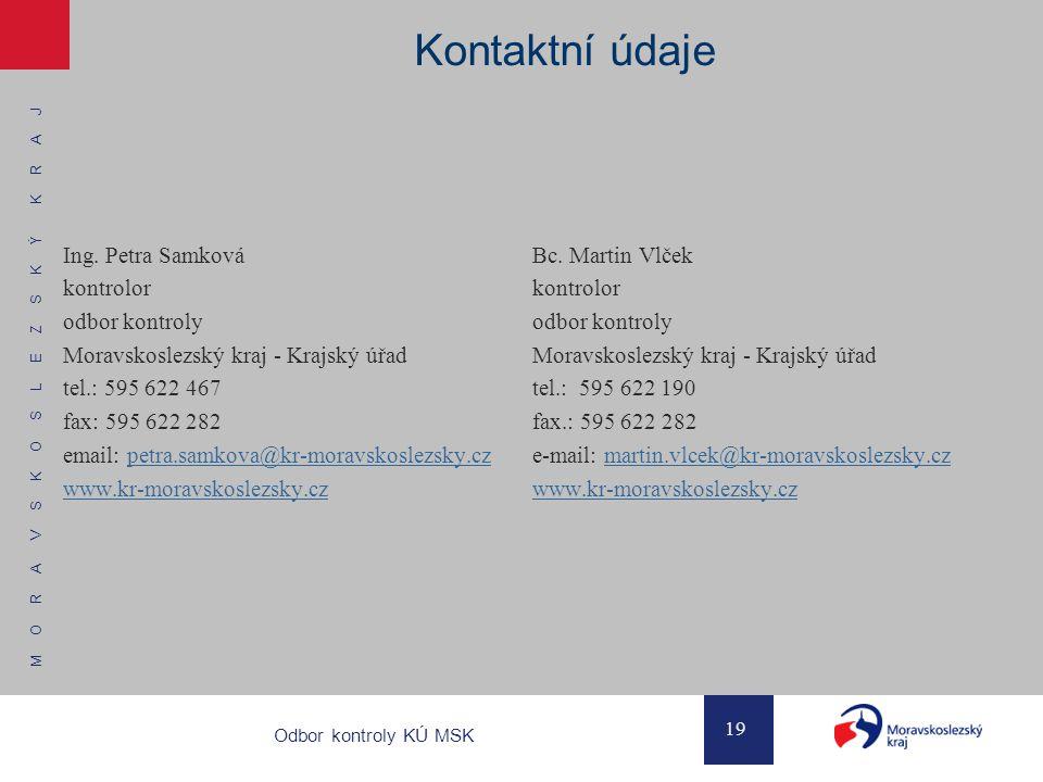 Kontaktní údaje Ing. Petra Samková kontrolor odbor kontroly