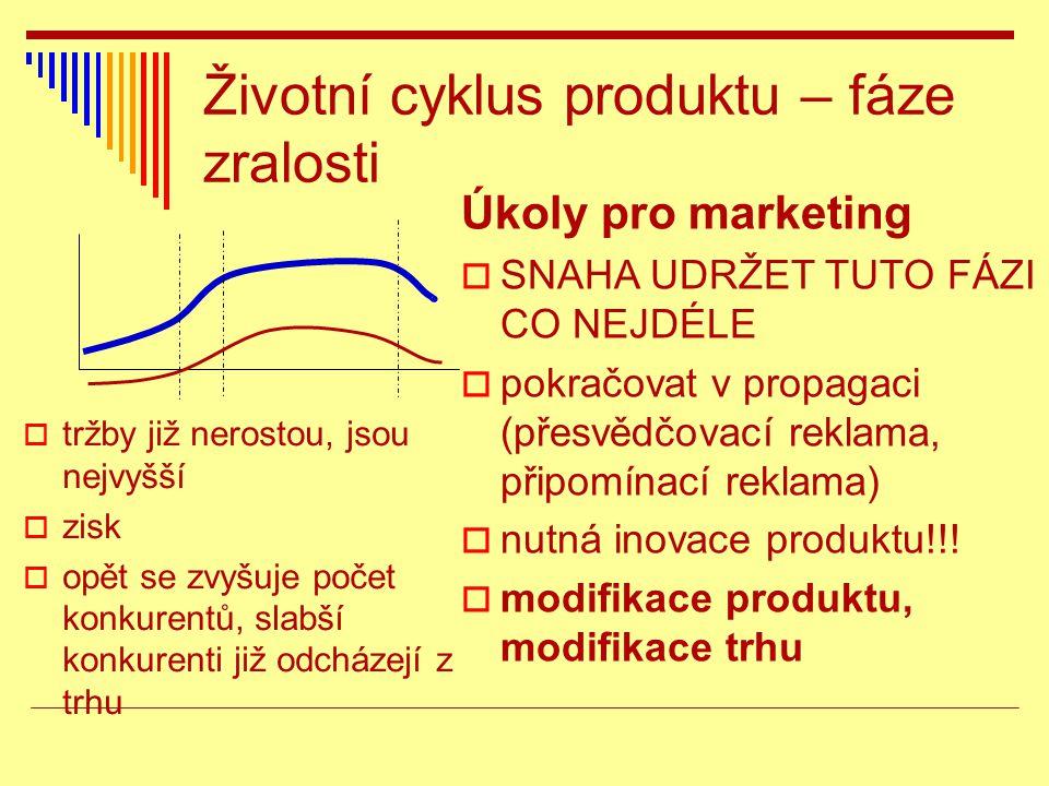 Životní cyklus produktu – fáze zralosti