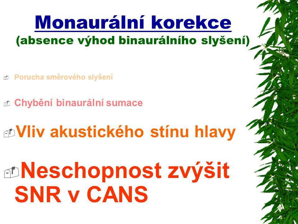Monaurální korekce (absence výhod binaurálního slyšení)