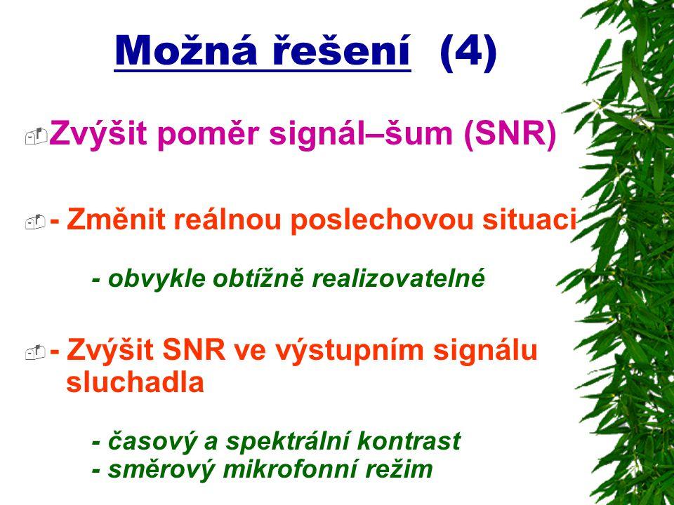 Možná řešení (4) Zvýšit poměr signál–šum (SNR)