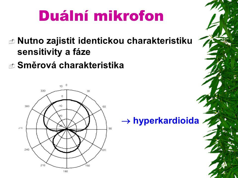 Duální mikrofon Nutno zajistit identickou charakteristiku sensitivity a fáze.