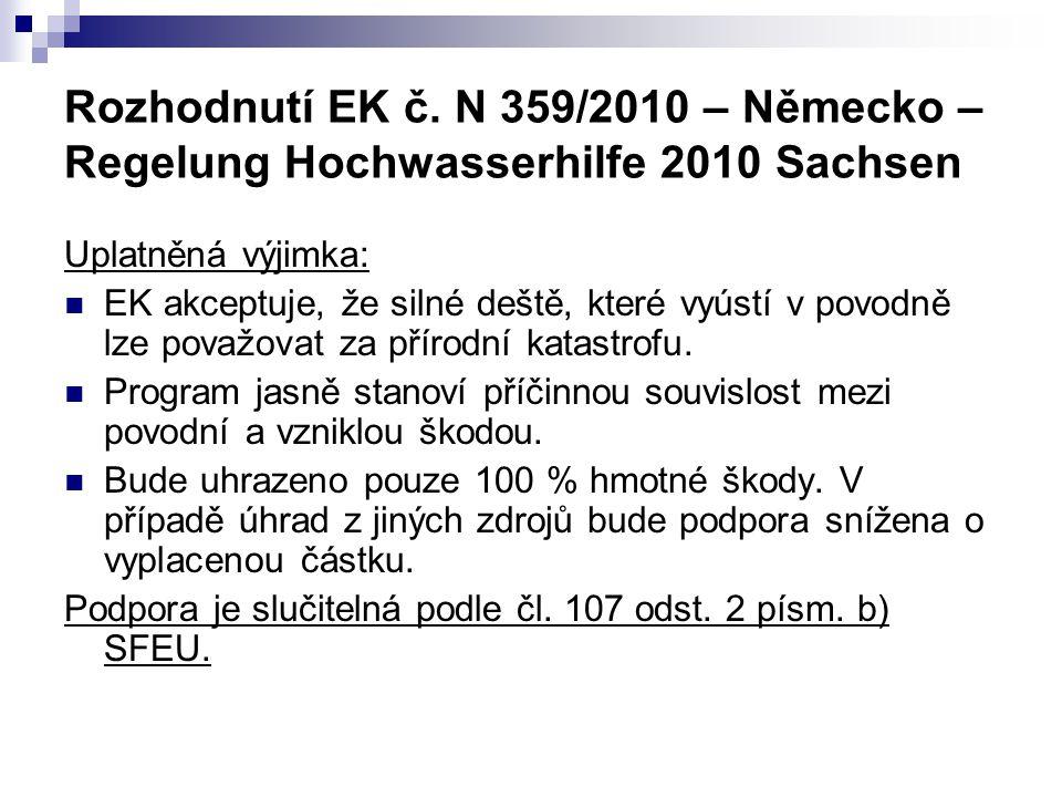 Rozhodnutí EK č. N 359/2010 – Německo – Regelung Hochwasserhilfe 2010 Sachsen