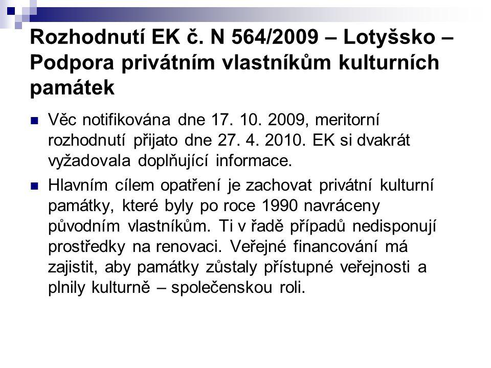 Rozhodnutí EK č. N 564/2009 – Lotyšsko – Podpora privátním vlastníkům kulturních památek