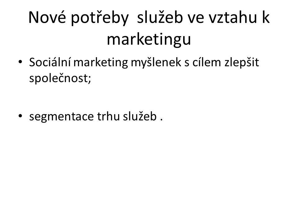 Nové potřeby služeb ve vztahu k marketingu