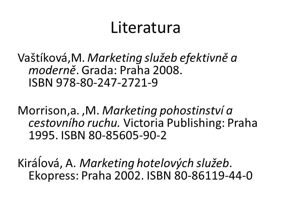 Literatura Vaštíková,M. Marketing služeb efektivně a moderně. Grada: Praha 2008. ISBN 978-80-247-2721-9.