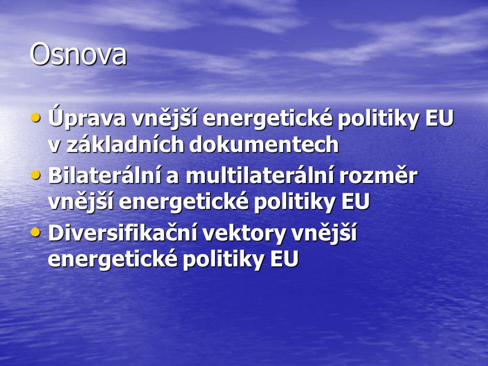 Osnova Úprava vnější energetické politiky EU v základních dokumentech