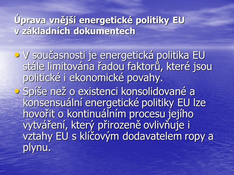 Úprava vnější energetické politiky EU v základních dokumentech